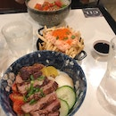 $18 Wagyu Beef Don, $16 Chirashi Bowl, $12 Mentaiko Fries