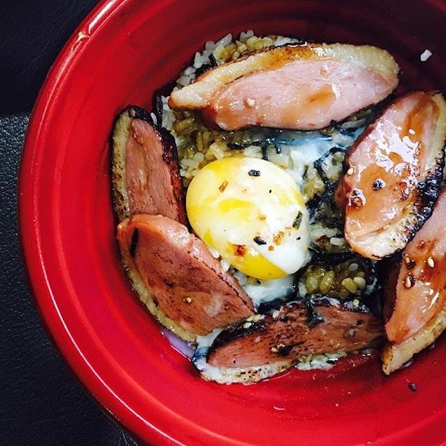 Thomson Food Hunt #2 Glazed smoked duck bento with onsen egg #saturdate #mix #rice #instafood #instaphoto #burpple #sushiro #duck #onsen #eggporn @rainbowaffles
