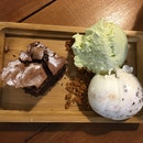 brownie with s'mores and thai green milk tea ice cream
