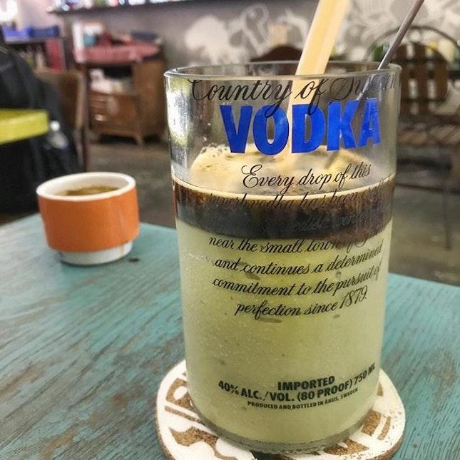 Avocado coffee served in a vodka glass!