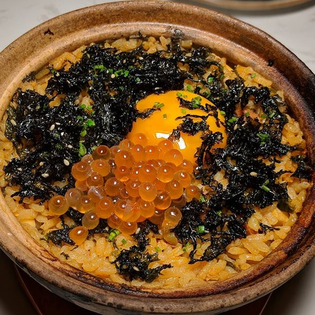 Claypot Rice, Chorizo, Marinated Yolk, Preserved Mustard Green, Ikura, Seaweed from The Obelisk, a new fusion sharing plates concept along Tanjong Pagar Road (@theobelisksg).