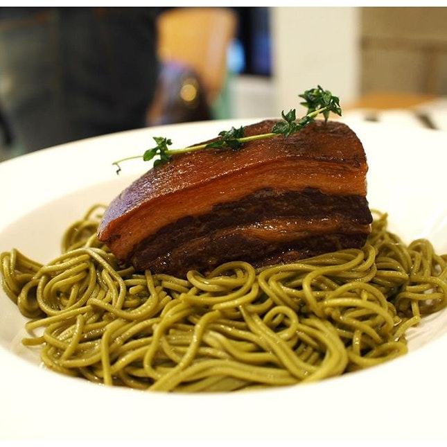 [Black Berkshire pork belly with warm cha soba]  Fork tender meat paired with delightfully soft gelatinous layers, melting and melding in harmony within your mouth.