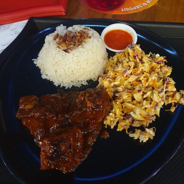 Pork Belly Burnt Ends + Garlic Butter Rice + Curried Coleslaw ($8.50)