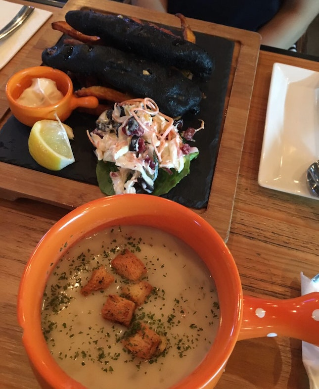Charcoal Salmon And Clam Chowder