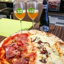 Quattro formaggi & Carne half half Pizza with Bmra Nazio Nale Italiana Craft Beer at Vita Italiana.