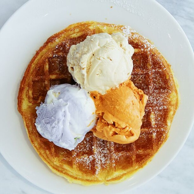 For Waffles, Ice Cream and Matcha Latte