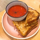 For Cheddar Grilled Cheese and Chunky Tomato Soup