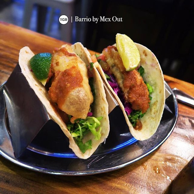 [Barrio By Mex Out] • Deep fried fish tacos ($13.40), juicy battered fish tacos with soft taco shell.