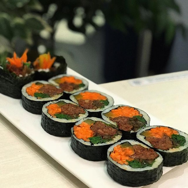 Spicy Pork Gimbap that is a little too spicy for me 😅 .