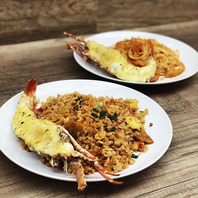 Lobster Fried Rice and Lobster Spaghetti at The Basement, Hong Leong Building .
