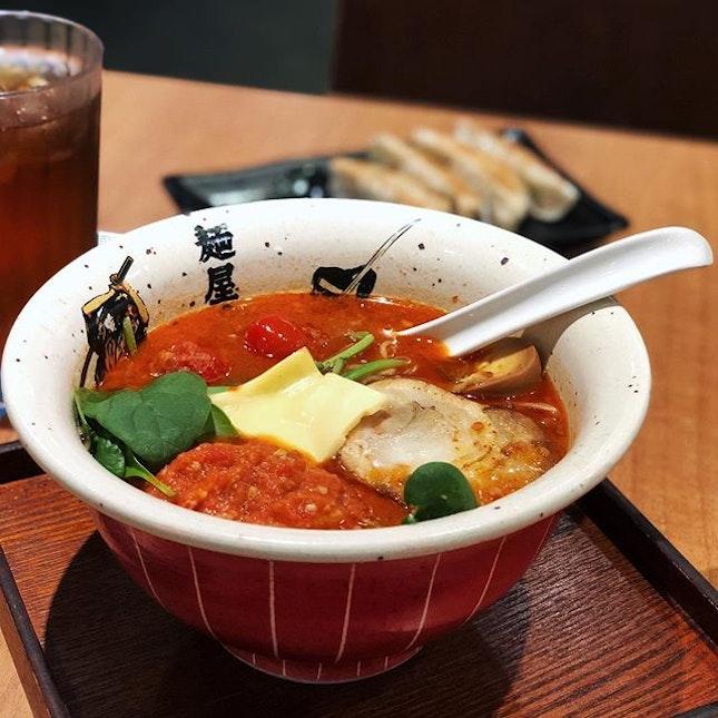 @menyamusashisg launches Tomato Ramen to celebrate 7 years in Singapore.