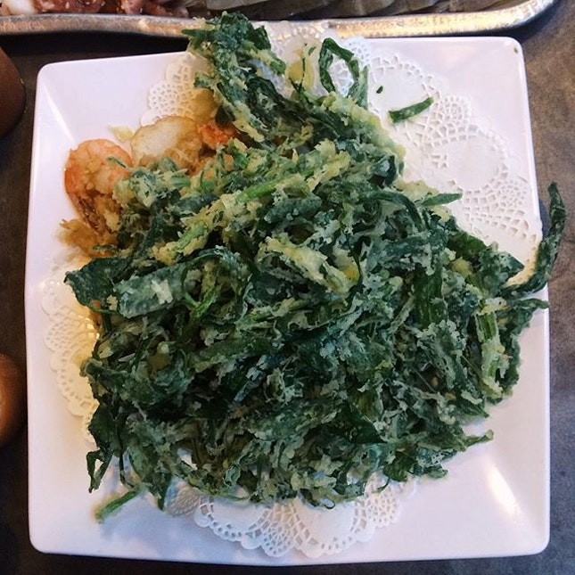 Just when you think vegetables can't be unhealthy, there's the Deep Fried Kang Kong!