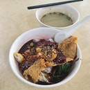 Yong Tau Foo from Yong Tau Fu  The food items, consisting of cabbage, spinach, pork belly, wanton, beancurd skin, enoki mushrooms and fish dumpling, were generally nice to have with the kway teow tossed in sweet sauce and chilli!