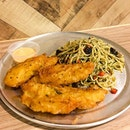 Battered Fish & Mushroom Aglio Olio  The battered fish was fried till crispy on the outside, juicy and tender on the inside!