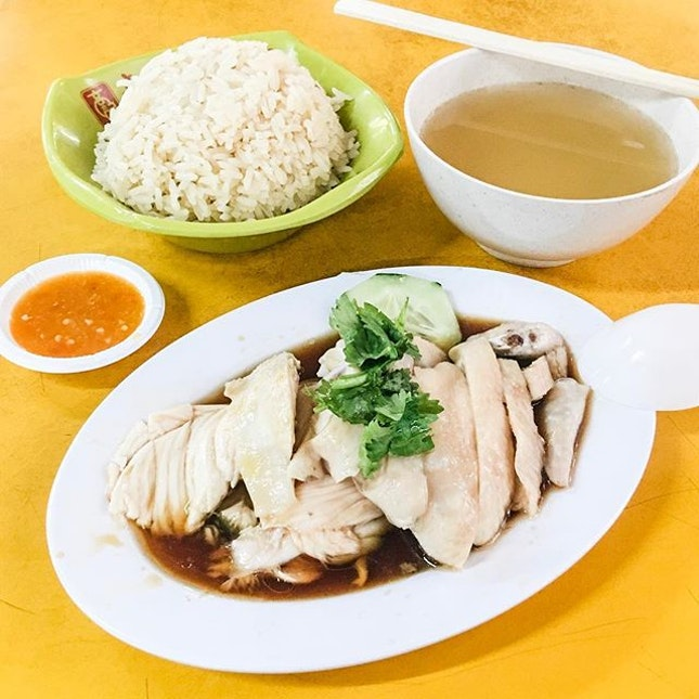 Hainanese Chicken Rice from Dong Dong Hainanese Chicken Rice  Plenty of steamed chicken was given, with each slice being tender and flavourul!
