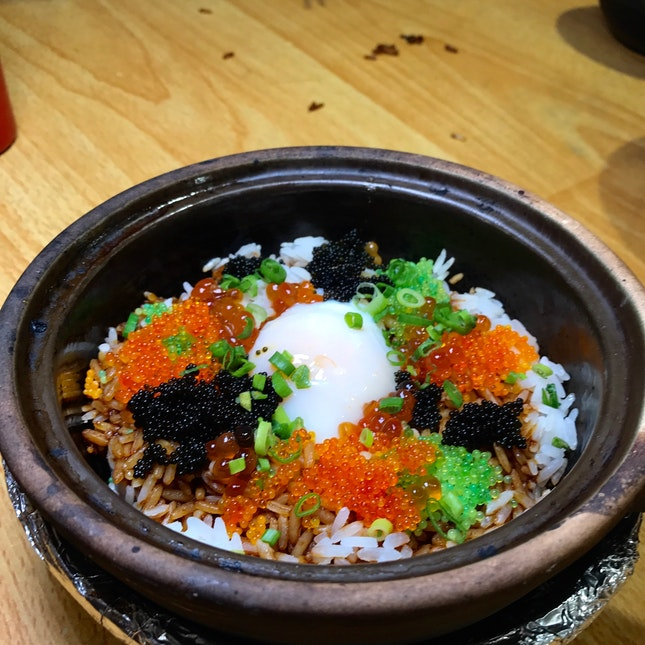 Ikura, Tobiko & Onsen Egg On Rice ($11)