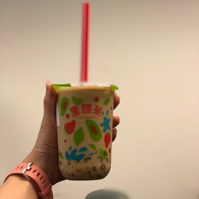 Da Hong Pao Milk Tea w/ White Pearls (Less Pearls) (30% Sugar, Less Ice)