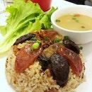 Lap mei fan & rice wine chicken mee sua.