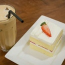 Ice Latte With Strawberry Shortcake