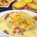 | Salted Egg Baked Rice with Chicken Chop | Was literally going to faint cos I was busy the whole day and only had my first meal of the day at 7 plus yesterday with the husband...