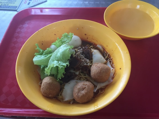 Fishball Noodles Added With Fried Meatballs