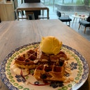 Mango Lassi On Lavender Waffles