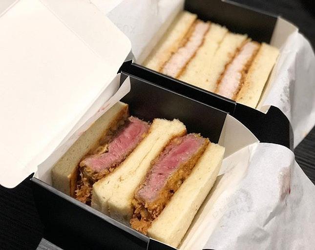 Pork katsu sandwich ($15)  Wagyu Beef katsu sandwich ($28) ⭐️ 3.5/5 ⭐️ 🍴Hidden away in a grand very pretty mall on little Collins street with amazing ambience, this unassuming sandwich store sells pricey but yummy Japanese-inspired katsu sandwiches.