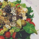For salad, we have spinach, Swiss chard, arugula, cherry tomatoes, olives & avocado with feta cheese & a handful of chia seeds & ground flaxseeds!