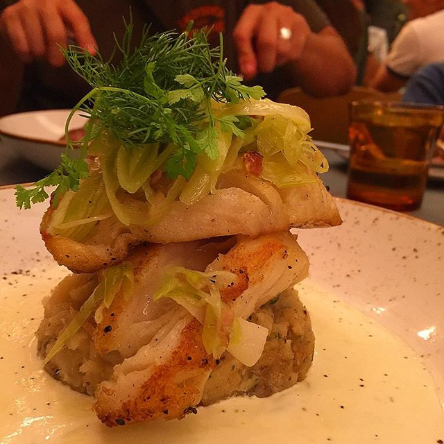 Roasted Cod & Leek with Dill on mash.