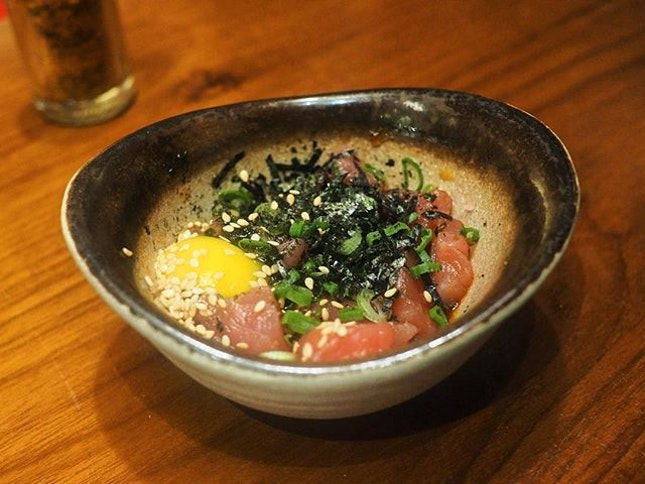 Our favourite dish that night was Maguro Yukke - tuna cubes in sesame oil, chilli oil and raw quail yolk.
