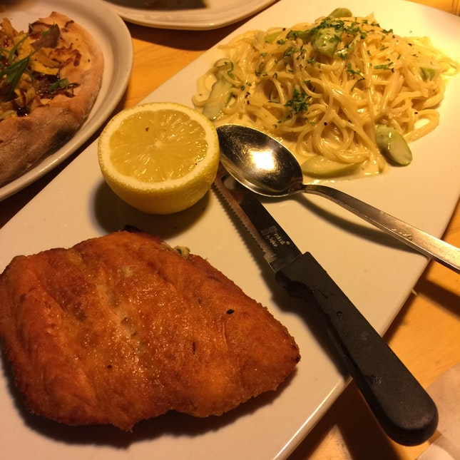 Sautéed Pan Fried Salmon Spaghetti