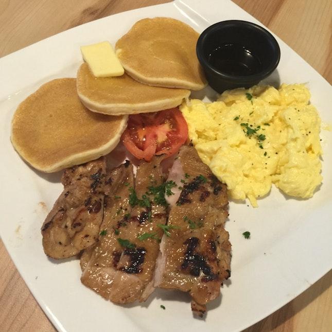 Pancakes With Teriyaki Chicken