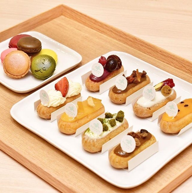 9 of the best-selling eclair flavours includes: Yuzu, Sakura, Café Au Lait, Hazelnut Chocolate, Ichigo Chantilly, Blackforest, Matcha, Passion Fruit and Pistachio.
