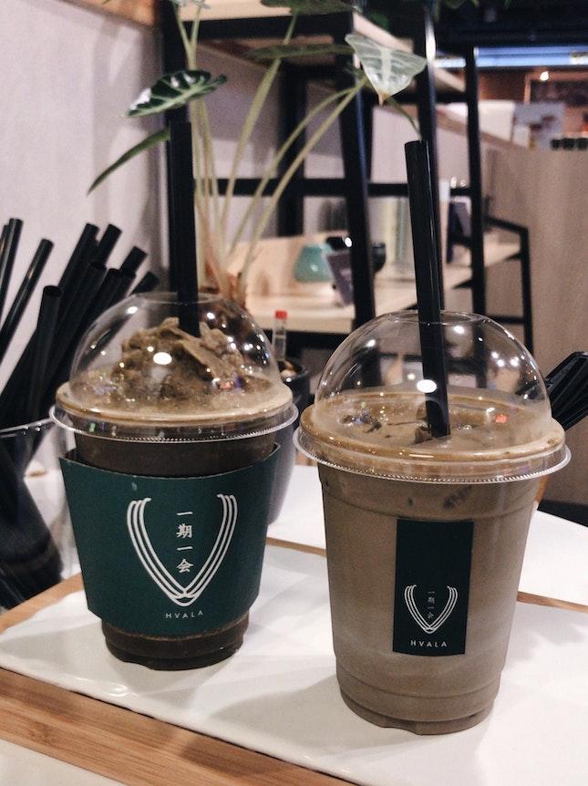 hojicha ice blended & matcha latte