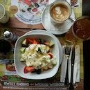Exotic fruit salad with yoghurt,  honey & mint + Somersby Apple Cider + Latte for brunch