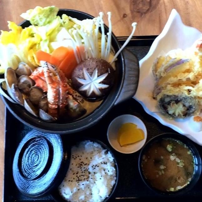 Nabemono hotpot with tempura.
