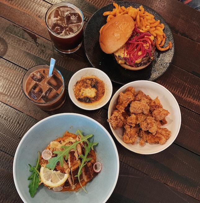 Burger ($12++), Chicken Nibblets ($6++), Healthy Bowl ($14++)