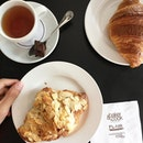 Playing the little french  Croissant aux Amandes - S$4.1 Croissant - S$ 3.8 Roiboos Cremé Caramel Tea - S$ 5.5 📍: @bakerandcooksg