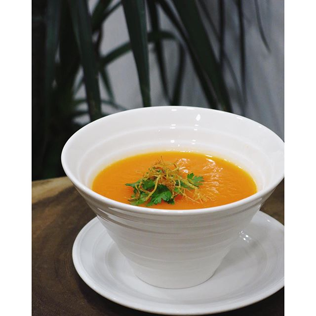 Topped with coriander and ginger, this bowl of Carrot Soup is part of the Cafe Week menu from Well Dressed Salad Bar and Cafe.