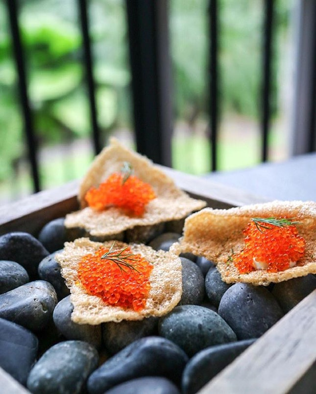 Amuse-bouche of fish crackers with kewpie mayo and lots of tobiko roe on top.