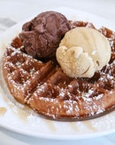 Where would be your go-to for waffles and ice cream along the stretch of cafes along Upper Thomson Road?