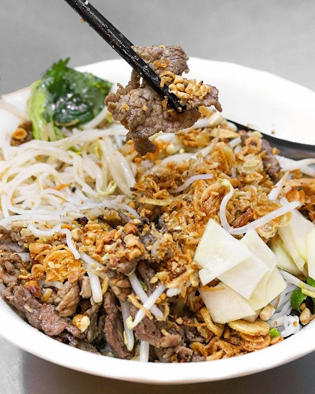 Massively popular among locals and tourists, this street food establishment might just be crowned the best beef noodle salad in Hanoi.