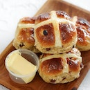Tea time snack of sourdough hot cross buns from Firebake today in celebrate of Easter Sunday.