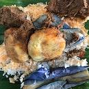 Beef Rendang, Begedil & Eggplants
