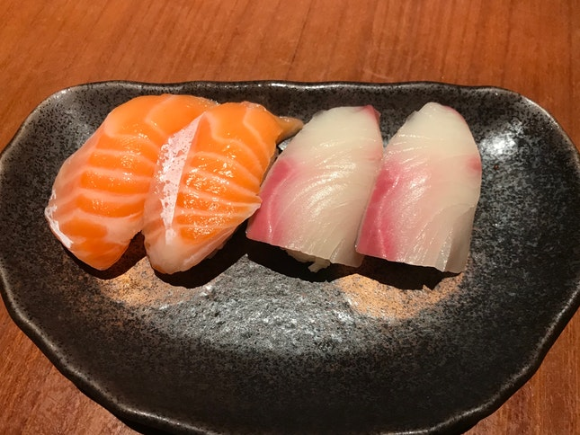 Salmon Belly Sushi ($4.00) & Hamachi Sushi ($5.50)