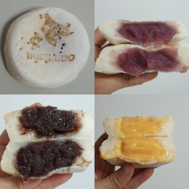 Mochi obanyaki (3 Pcs For $10): Sweet Potato, Hokkaido Melon & Red Bean