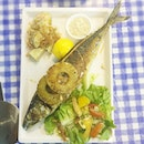 Grilled whole mackerel with potato salad & greens (with honey mustard)