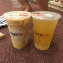 Just $1 each for pudding milk tea and honey lemon with white pearl.