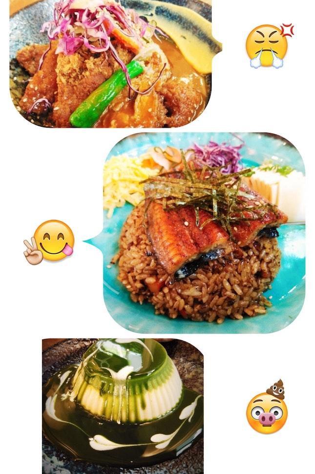 Unagi Fried Rice, Tonkatsu Curry Rice, Macha Coconut Panna Cotta