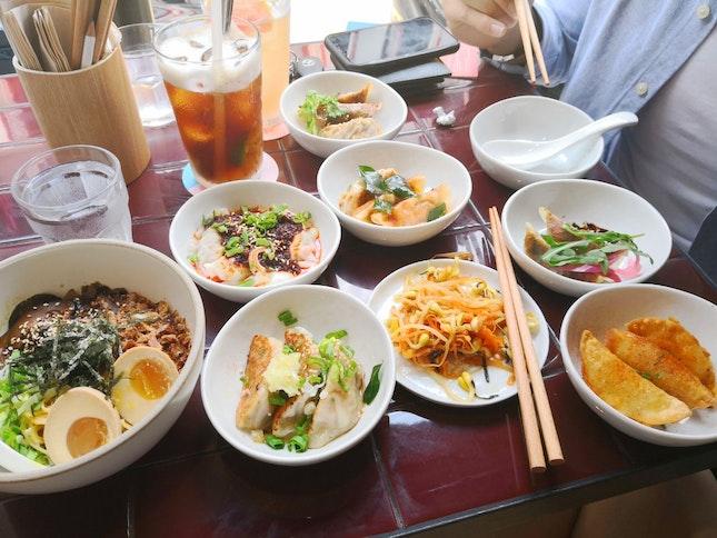 delicious dumplings and noodles